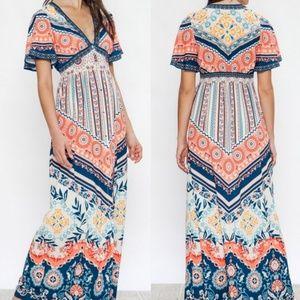 Boho Coral Maxi Dress S-L